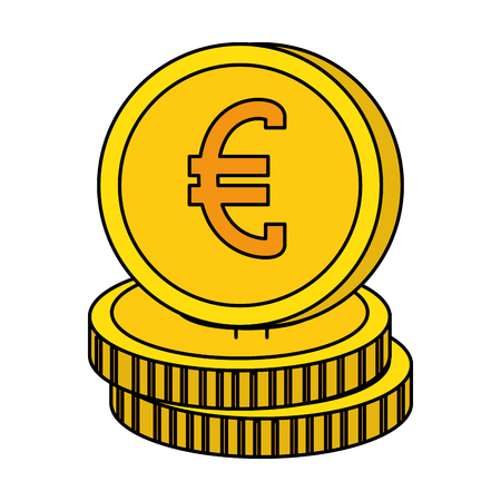 euro coins isolated icon vector illustration design