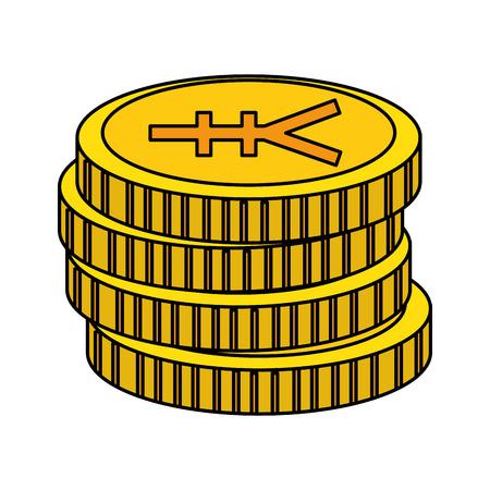 yen coins isolated icon vector illustration design Illustration