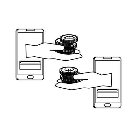 smartphones with set of commercial coins vector illustration design