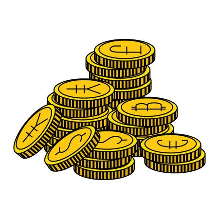 set of commercial coins vector illustration design