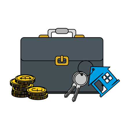 keys of house property with briefcase and bitcoins vector illustration