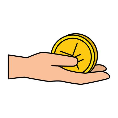 hand with yen coin vector illustration design