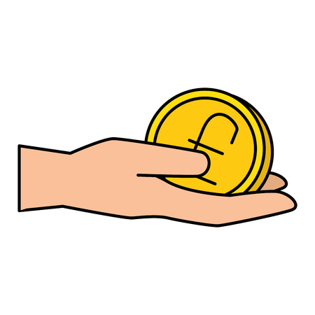 hand with pound sterling vector illustration design  イラスト・ベクター素材