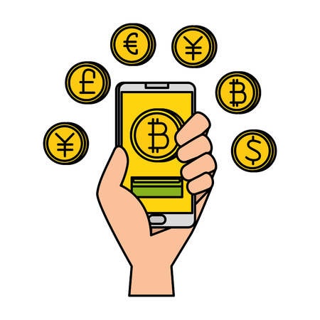 hand with smartphone and bitcoin commerce vector illustration design