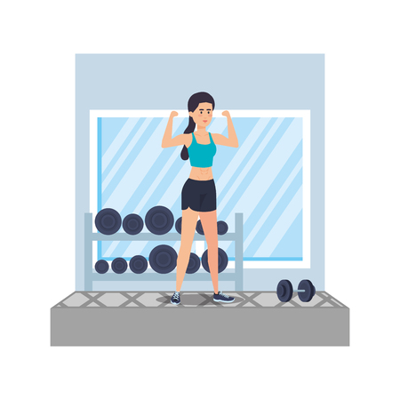 strong woman lifting weight in the gym vector illustration design Vettoriali