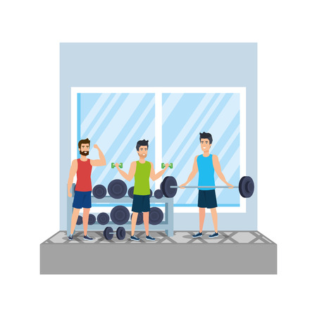 strong men lifting weight in the gym vector illustration design