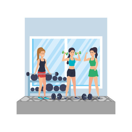 strong women lifting weight in the gym vector illustration design Vectores