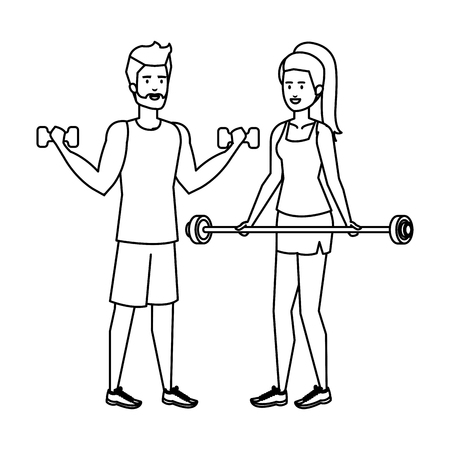 strong couple lifting weight vector illustration design Archivio Fotografico - 127026721