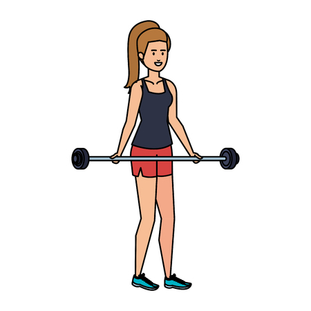 strong woman lifting weight vector illustration design Archivio Fotografico - 127026727