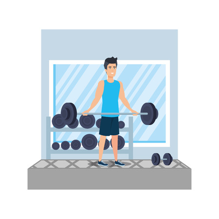 strong man lifting weight in the gym vector illustration design Banque d'images - 127026734