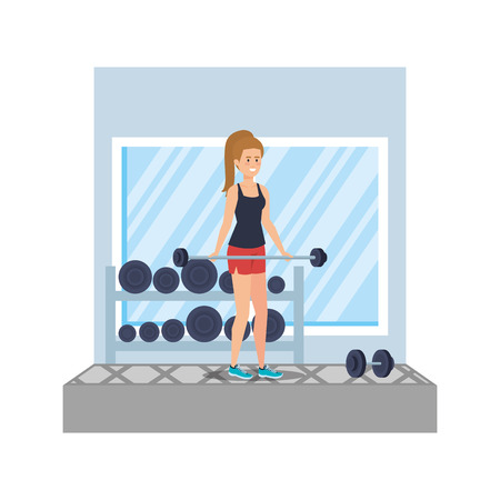 strong woman lifting weight in the gym vector illustration design Ilustrace