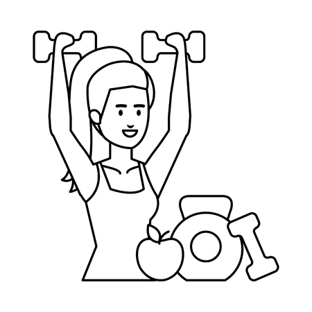 strong woman lifting weight and apple vector illustration design