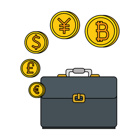 portfolio with set of commercial coins vector illustration design