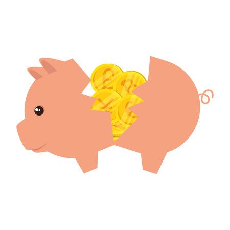 piggy savings with set of commercial coins vector illustration design Ilustração Vetorial