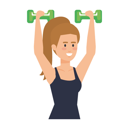 strong woman lifting weight vector illustration design Archivio Fotografico - 127026786