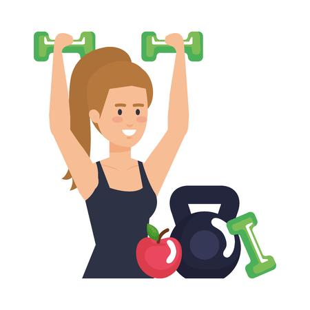 strong woman lifting weight and apple vector illustration design Ilustración de vector