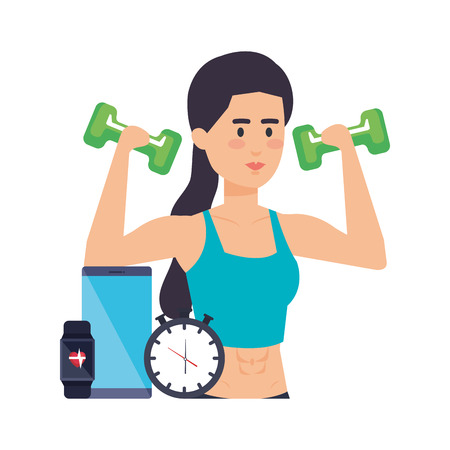 woman lifting weight with gadget and chronometer vector illustration Archivio Fotografico - 127026791