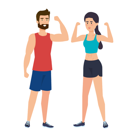 strong couple lifting weight vector illustration design