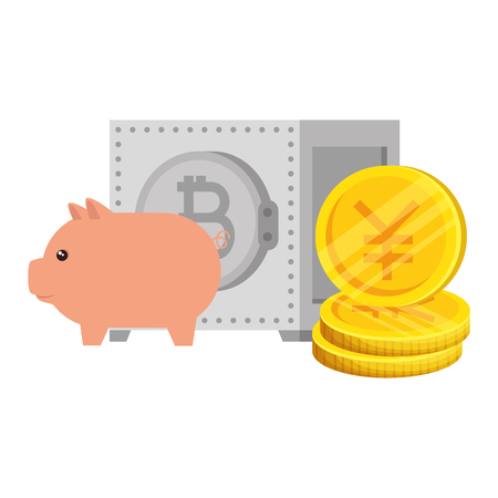 yen coins with safe box and piggy vector illustration design