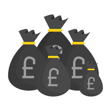 sack of pound sterling coins vector illustration design Ilustração