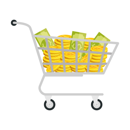 shopping cart with set of commercial coins vector illustration design Illusztráció