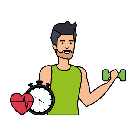 strong man lifting weight with chronometer vector illustration design