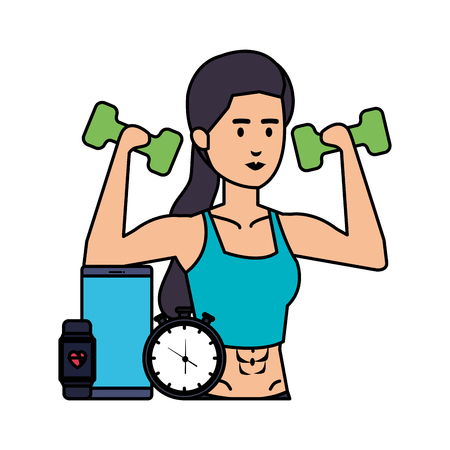 woman lifting weight with gadget and chronometer vector illustration Archivio Fotografico - 127026843