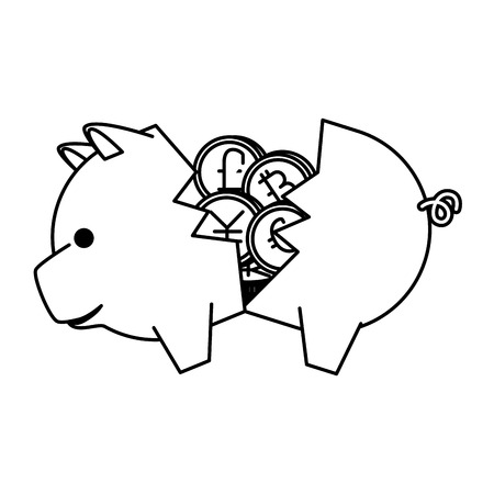 piggy savings with set of commercial coins vector illustration design Фото со стока - 127026853