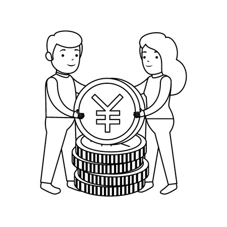business couple with yen coins vector illustration design Illustration