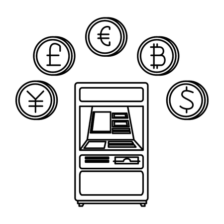 cashier with set of commercial coins vector illustration design