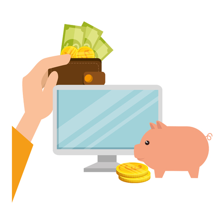 desktop and piggy with set of commercial coins vector illustration design