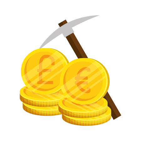 pound sterlings and euro coins with pick vector illustration design