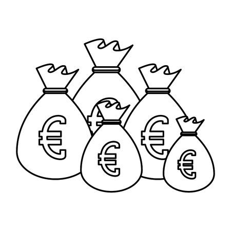 sack with euro coins vector illustration design Illustration
