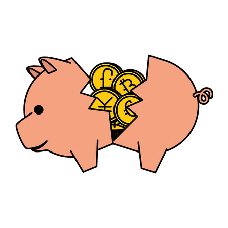 piggy savings with set of commercial coins vector illustration design Фото со стока - 127026947