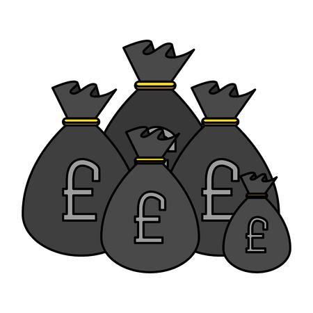 sack of pound sterling coins vector illustration design Illusztráció