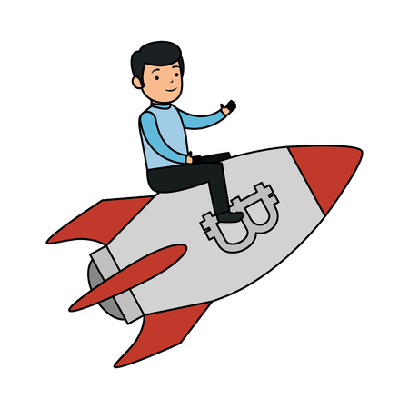 businessman flying in rocket with bitcoin symbol vector illustration