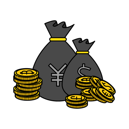 sack of yen coins vector illustration design  イラスト・ベクター素材