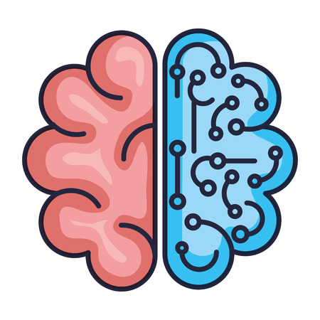 brain with circuit icon vector illustration design