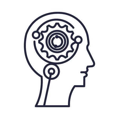 cyber humanoide profile icon vector illustration design
