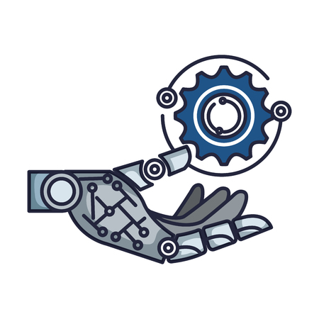 robotic hand with gear vector illustration design