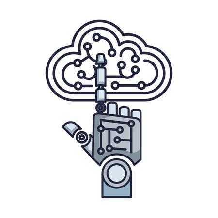 robotic hand index cloud vector illustration design