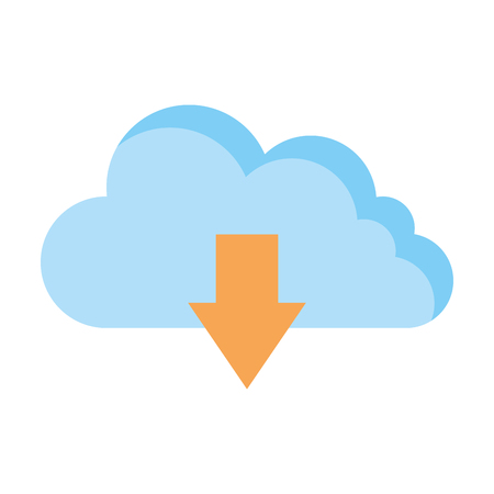 cloud computing server with arrow download vector illustration design Illustration