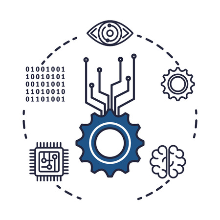 gears machinery with set icons vector illustration design