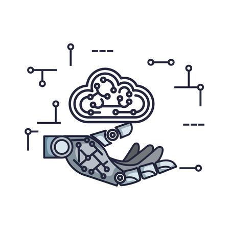 robotic hand with cloud computing vector illustration design