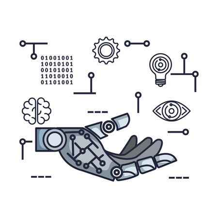 robotic hand with set tech icons vector illustration design