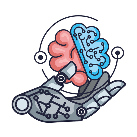 robotic hand with brain vector illustration design Illustration