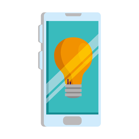 smartphone with bulb light vector illustration design Ilustração