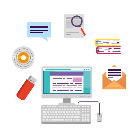 computer desktop with elearning icons vector illustration design