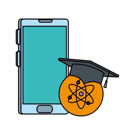 smartphone with graduation hat and atom vector illustration design