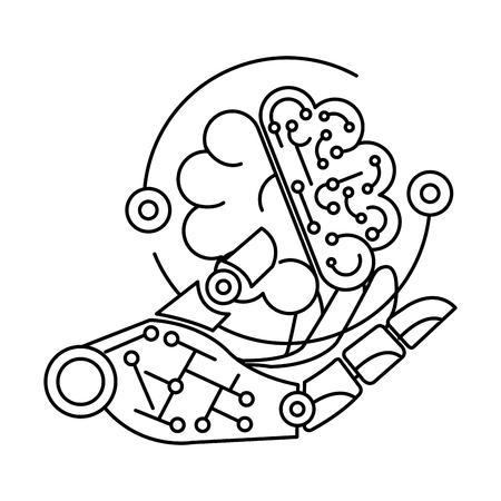 robotic hand with brain vector illustration design Stock Illustratie